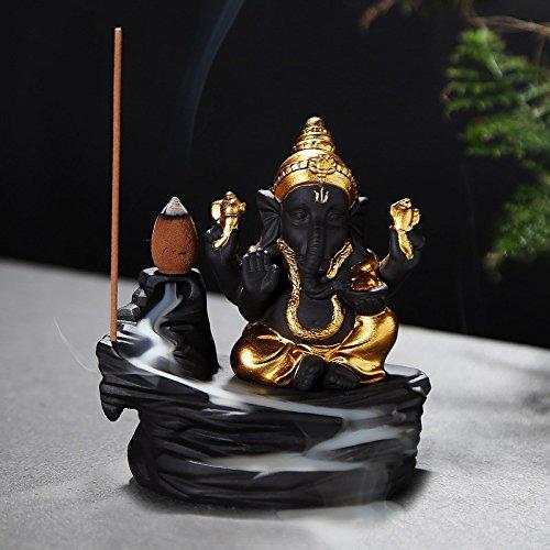 Webelkart JaipurCrafts Ceramic Lord Ganesha Emblem Backflow Incense Burner with 10 Backflow Cones (Gold)
