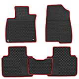 HD-Mart Car Rubber Floor Mat for Honda Accord 10th Generation 2018 2019 2020 2021 Custom Fit Black Red Auto Liner Mats All Weather Heavy Duty Odorless