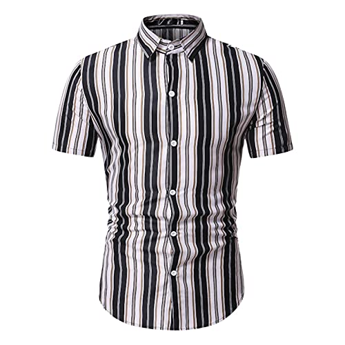 KANGYONG Camisa de manga corta para hombre, diseño a rayas, corte ajustado. A_negro. M