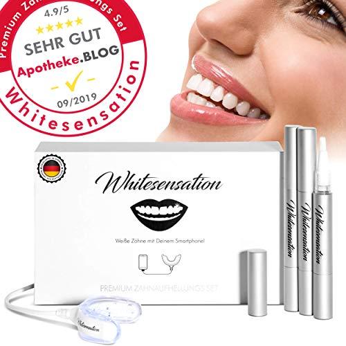 Whitesensation© Zahnaufhellung Set Professionelles Zahn Bleaching Set für weiße Zähne | Gegen Gelbe Zähne & Verfärbungen | Teeth-Whitening Kit zum Zähne aufhellen | Bleaching Zähne