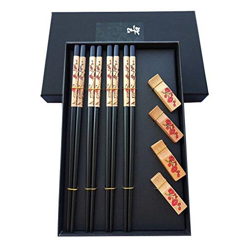 Mainiusi - Juego de palillos de madera con resto, reutilizables, 22,8 cm, con soporte antideslizante, lavable, kit de 4 pares con caja de regalo, color negro