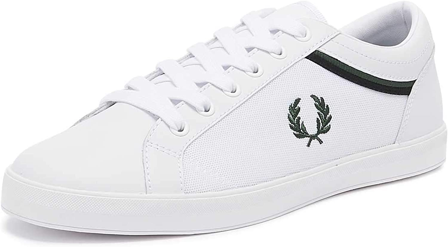 Fred Perry Baseline Tipped Collar Mens White Ivy Trainers