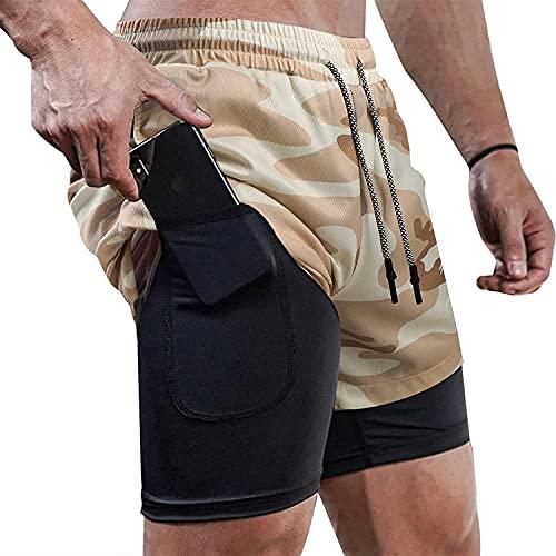 Correr 2 en 1 Invisible Fitness Yoga Ejercicio al aire libre 7 pulgadas Pantalones cortos