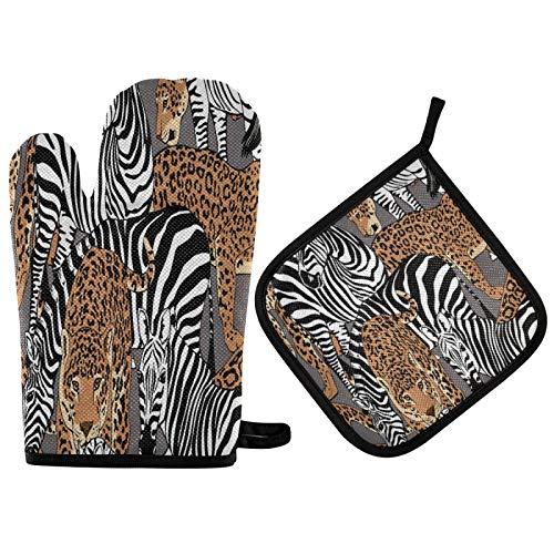 OOWOW - Juego de guantes y agarraderas para horno con forro de algodón, diseño de leopardo, diseño de cebra salvaje, resistente al calor, para cocina, cocina, cocina, cocina, parrilla, Navidad