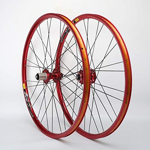 Xiami 26 Pulgadas de Bicicletas de montaña del Freno de Disco de Ruedas de aleación de Aluminio Red Rim 11 velocidades Teniendo Rojo Eje del Lanzamiento rápido (Rueda de la Rueda Delantera + Trasera)