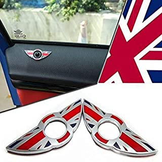 iJDMTOY (2) Union Jack Style Wing Emblem Rings For MINI Cooper R55 R56 R57 R58 R59 Door Lock Knobs, Red/Blue UK Flag Design (Does not fit R60 R61 nor F55 F56 models)
