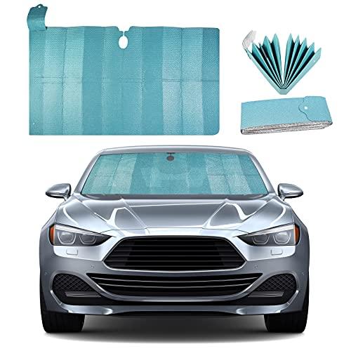 FORMIZON Auto Sonnenschutz Frontscheibe, Auto Scheibenabdeckung Faltbare, Frontscheibenabdeckung, Sonnenblende Schutzfolie Doppelseitiges Aluminiumfolie UV Schutz 130x 70cm(Blau)