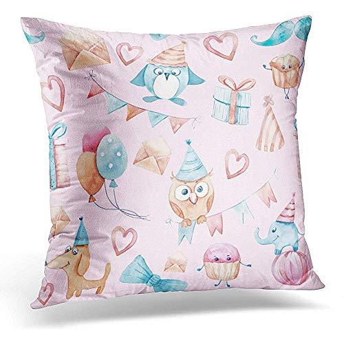 Zjipeung - Funda de almohada decorativa con diseño de pájaro azul y acuarela en rosa con banderas, guirnaldas de perros, helados, elefantes, corazones, pingüinos, funda de almohada cuadrada, decoración del hogar, 45 x 45 cm