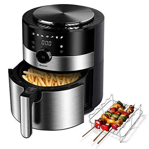 Hoepaid Air Fryer, No Oil Stainless Steel Oven with 7 Preset Modes and Adjustable Temperature Time, Touch Screen and Knob, Non-Stick Basket and CookBook Included, 1350W, Black (3.6QT)
