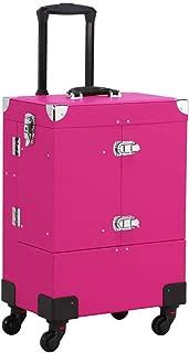 Yaheetech Makeup Train Case Professional - Pink Rose Cosmetic Organizer Bag Makeup Brush Storage Travel MakeUp Artist Box PVC Leather Nail Polish Lockable Mirror Cosmetics Organizer
