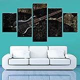 SWMLDM 5 Piezas Lienzos Cuadros Pinturas Instrumento Musical Guitarra Negra Modernos Modular Impresión Hd Póster Imagen Artística Para Salón Niños Habitación Dormitorio Oficina Hogar Decoración 150X80