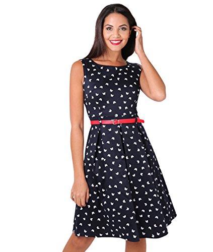 KRISP Damen 50er Jahre Vintage Kleid (Marineblau, Gr.44) (6874-NVY-16)