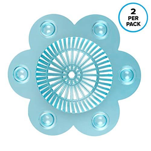 SlipX Solutions Stop-A-Clog® Drain Protectors halten Haare von Drainagen fern! 2 Haarspangen pro Packung. (Aqua, Kunststoff, 13 cm Durchmesser)