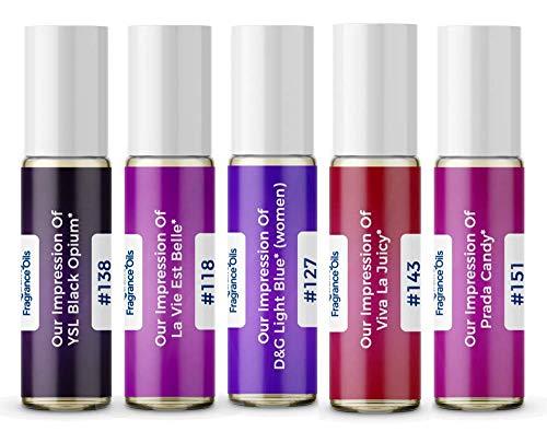 Women's Top 5 Perfume Oil Impressions 2020 (Generic Versions of Designer Fragrance) Sampler Gift Set of 5 10.35ml Roll-ons