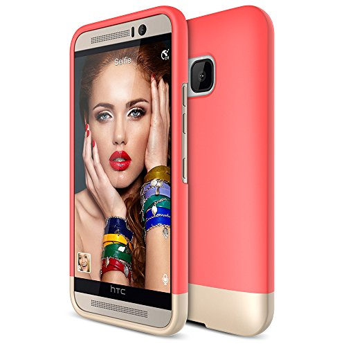 HTC One M9 Case, Maxboost [Vibrance Series] Protective SOFT-Interior Scratch Protection with Vibrant Trendy Color Slider Style for HTC One M9 - Italian Rose / Champagne Gold
