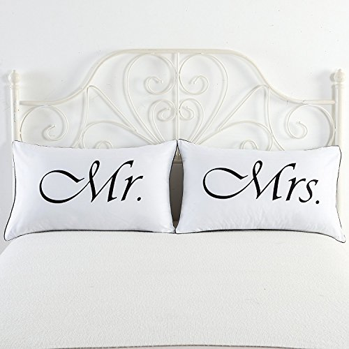 DasyFly 2PCS Mr and Mrs Pillow Cases,His and Hers Couples Pillowcases,...