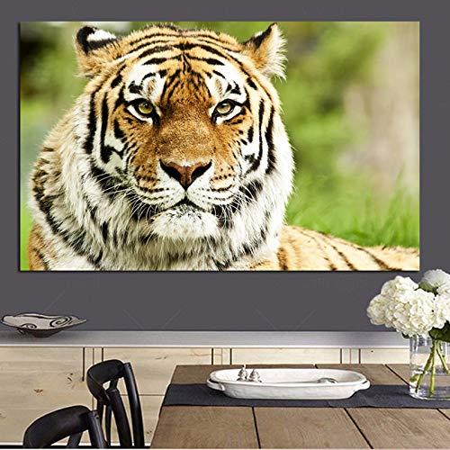 Moderner Dschungel Wilder Tiger Landschaft Ölgemälde Druck auf Leinwand Pop Art Tier Wandbild Wohnzimmer Modernes Dekor 40x60cm