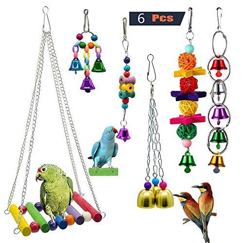GingerUP 6 Piezas Unidades Juguetes para Pájaros Colorful Columpio para Loros Accesorios Jaula Pajaros Bite Toy con Campanas para Periquitos, Cockatiels, Loro, Periquito, cacatúas