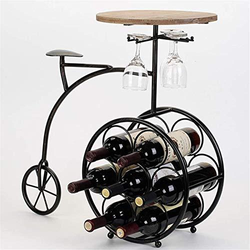 TUHFG Botellero de roble europeo para colgar en forma de bicicleta con forma de soporte para copas de vino