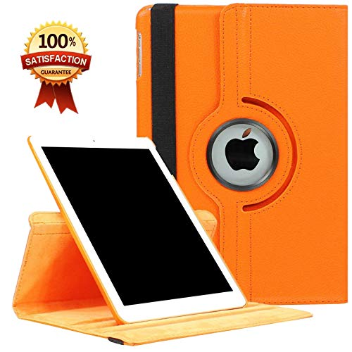CenYouful iPad Case Fit 2018/2017 iPad 9.7 6th/5th Generation - 360 Degree Rotating iPad Air Case Cover with Auto Wake/Sleep Compatible with Apple iPad 9.7 Inch 2018/2017 (Orange)