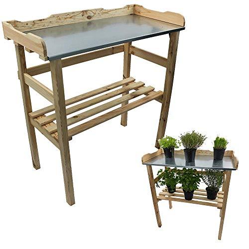 DILUMA Pflanztisch Natur aus Holz mit verzinkter Metall-Arbeitsfläche Gartentisch aus FSC® Holz mit Ablagefläche Wetterfest Holzpflanztisch 82 x 78 x 38 cm für Garten Balkon und Terrasse