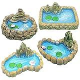Athemeet 4PCS Hada del jardín en Miniatura Pond Adornos, Miniatura Mundial de la Roca del Estanque de Peces, un Lago en Miniatura para una Miniatura Hada del jardín y Accesorios Miniatura jardín de