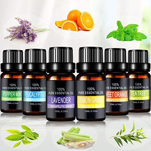 Scopri offerta per Olio Essenziale Set Joylink Aromaterapia Olio Essenziale Biologici Puri 100% Essenze per Diffusori Kit Lavanda Eucalipto Tea Tree Lemongrass Menta Piperita Arancia Dolce 6 x 10 ml