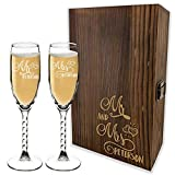 Bride And Groom Champagne Glasses Set With Wooden Gift Box - 6 Premium Custom Designs - Personalized Mr And Mrs Champagne Flutes Glass for Wedding Toasting - Engraved by Froolu
