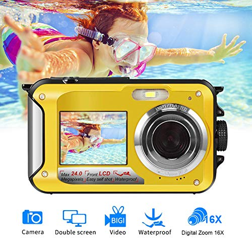 Underwater Camera Camcorder FULL HD 2.7K for Snorkeling 48.0 MP Waterproof Point and Shoot Digital Camera Dual Screen Action Camera