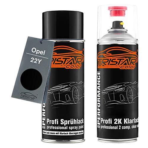 TRISTARcolor Autolack 2K Spraydosen Set für Opel 22Y Black Meet Kettle Metallic/Black Meet Kettle 4 Metallic Basislack 2 Komponenten Klarlack Sprühdose