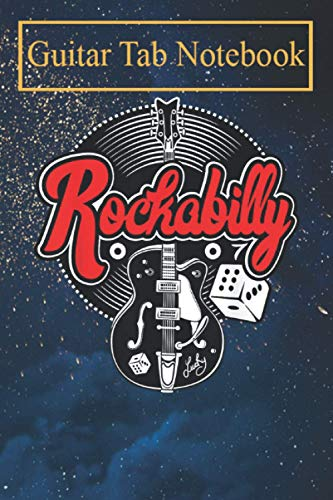 Guitar Tab Notebook: Rockabilly 50s Sock Hop Rock N Roll Women Men Rocker Guitar -NUxUk Blank Sheet Music For Guitar over 100 Pages With Chord Boxes