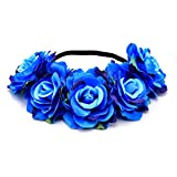 DreamLily Women's Hawaiian Stretch Rose Flower Headband Floral Crown for Garland Party BC12 (Z-Blue)