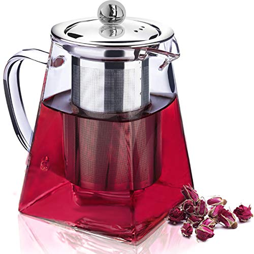 Seninhi Glass Teapot Clear Tea Kettle Pot With Removable 304 Stainless Steel Infuser Strainer Stove Top Safe【for Loose Leaf Tea, Tea Bags, Blooming Tea, Fruit Infused Tea 】 (550ML/19.5oz)