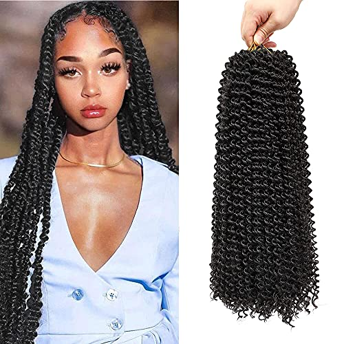 (18 inch, `1B, 80g/pack,22 Roots) BaiHong Passion Twist Hair 7 packs Water Wave Braiding Hair For Passion Twist StyleSynthetic Crochet Braiding Hair Extensions (18 inch, 1B)