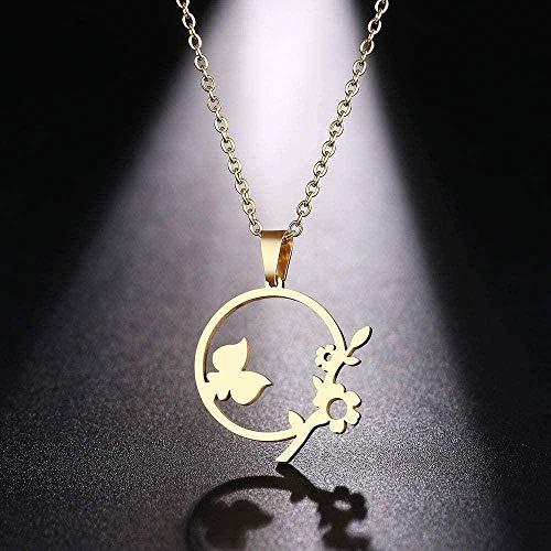 niuziyanfa Co.,ltd Collar de Acero Inoxidable para Mujer, Hombre, Flores Bonitas y Hierba, Collar con Colgante de Color Dorado y Plateado, joyería de Compromiso