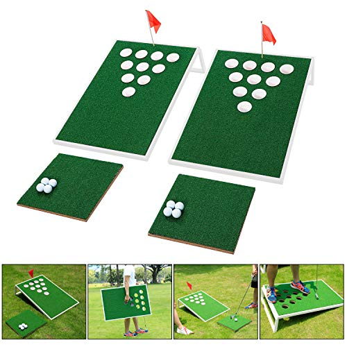 OOFIT Golf Chipping Target Set Combined Beer Pong Game Exciting Chip Game for Enthusiasts and Beginners, Golfing Practice Games Indoor/Outdoor at Beach, Backyard or Tailgate - White