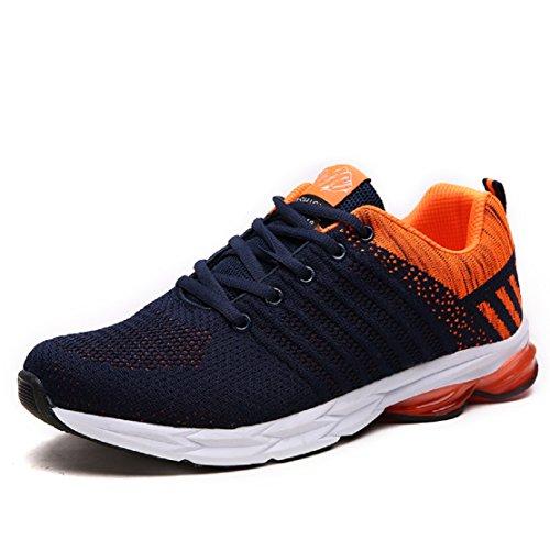 ZapatillasRunningpara Hombre Aire Libre y Deporte Transpirables Casual Zapatos Gimnasio Correr Sneakers Naranja 41