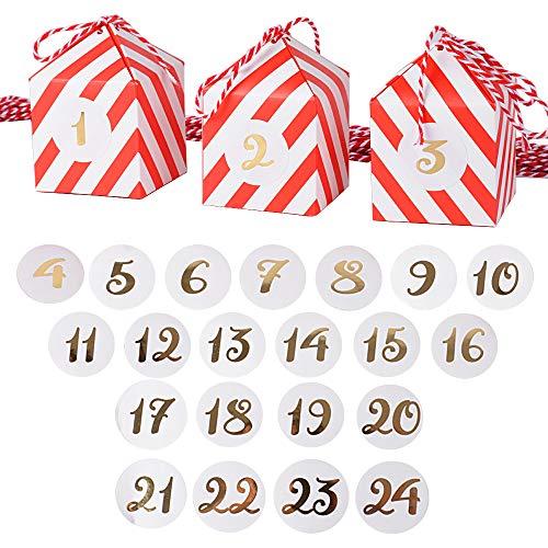 24pcs Cajas Cajitas Papel Cartón con 24 Cuerdas 24 Pegatinas Número Calendario de Adviento Caramelos Bombones Dulces Galletas Regalos Recuerdos Detalles Fiesta Navidad Boda Bautizo Cumpleaños