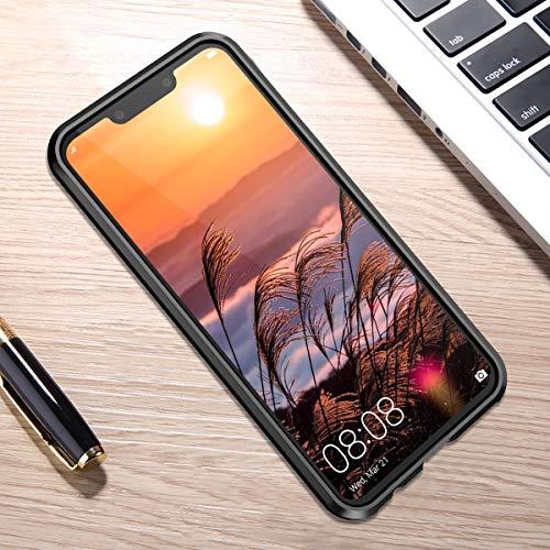 CE-Link Huawei Nova 3 Hülle Glas mit Magnetisch Panzerglas Durchsichtig Handyhülle Transparent Ultra Slim Dünn 360 Grad Schutzhülle Bumper Schutz - Schwarz - 4