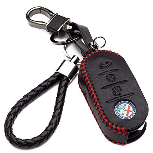 Car Key Cover Leather Fob for Alfa Romeo Key Mito Giulietta 159 3 Buttons Remote Key Shell Protection with Keychain (red stitching)