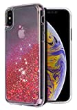 WORLDMOM for iPhone Xs Max Case, Double Layer Design Bling Flowing Liquid Floating Sparkle Colorful Glitter Waterfall TPU Protective Phone Case for Apple iPhone Xs Max 6.5 Inch (2018), Red