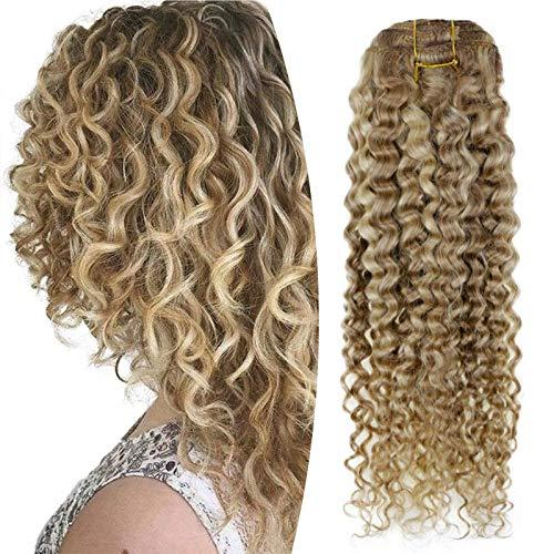 Hetto Clip in Extensions 12 Zoll 100G 12 Schmutzige Blondine 613 Gebleichtes Blond Natürliche Welle Remy Haarverlängerung für Full Head