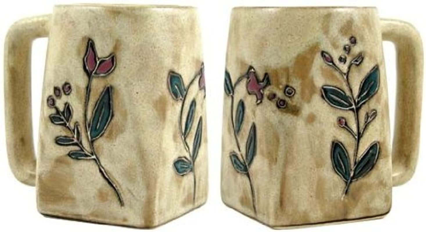 Set Of Two 2 MARA STONEWARE COLLECTION 12 Oz Coffee Cup Collectible Square Mugs Wild Flowers Design