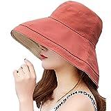 T WILKER UVカット 帽子 レディース ワイヤーを加える 取り外すあご紐 サイズ調節可 つば広 おしゃれ 可愛い ハット 旅行用 日よけ 夏季 女優帽 (テラコッタ)