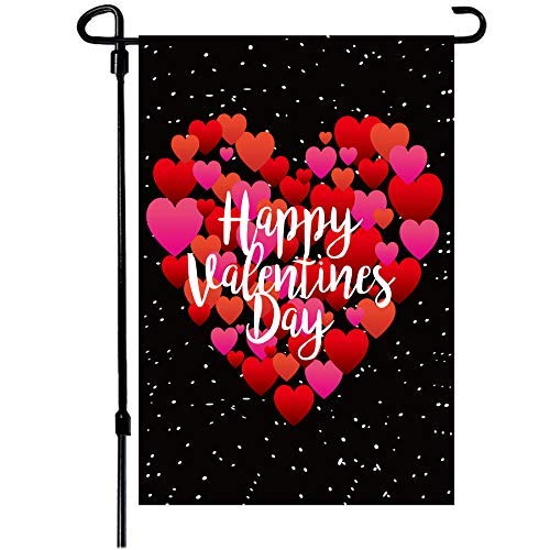 Valentine's Day Flag,12x18 Inch Valentine's Heart Garden Flag Double Sided Printing 2 Layer Burlap Valentine Flags for Your Valentine's Day Decoration