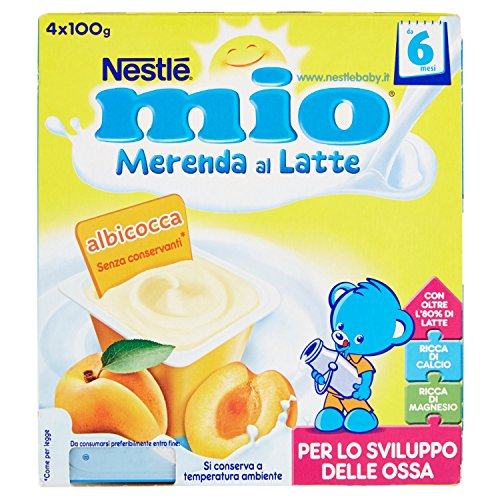Nestlé Mio Merenda al Latte Albicocca senza Glutine da 6 Mesi 4 Vasetti Plastica da 100 gr [400 gr]