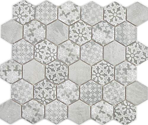 Azulejos de mosaico de cerámica hexagonal, color gris, revestimiento de pared de ducha, espejo de cocina, panel de encimera_f, 10 alfombrillas de mosaico