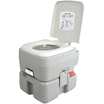SereneLife Outdoor Portable Toilet with Carry Bag, Travel Toilet with Level Indicator | | 3 Way Pistol Flush | Rotating Spout, for Camping, Boating, Traveling & Roadtripping