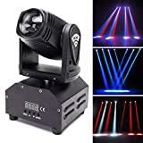 U`King Moving Head Stage Light RGBW (4 in 1) DMX512 Rotating Wash Lighting Effect Spotlight with Sound Activated Control for DJ Disco Show Club Dance Party Wedding Bar Theater Christmas Lights