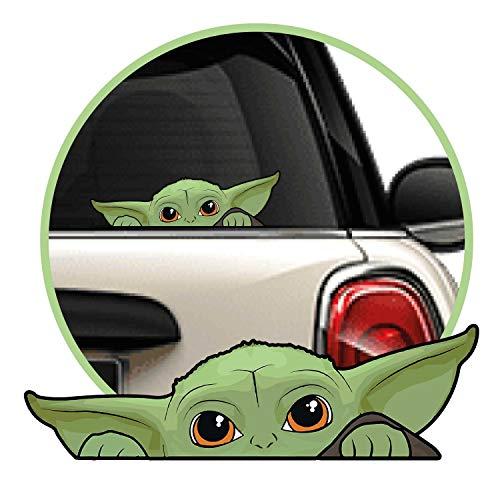 Adhesivo para Coche Baby Yoda Vinilo, Sticker, Pegatina Tipo Mandalorian, Star Wars. El grogu Verde en tu Auto, Ordenador portátil o Ventana.